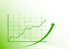 Graph up. Green graph is growing up on the white background Stock Photos