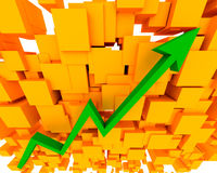 Graph Up Arrow. A Graph arrow showing increase in value Royalty Free Stock Photos