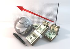 Graph Up Business Concept 3d rendering 100 dollar money with World. Concept design graphics Rendering 3 Dimensions image on a white background, The idea about of Stock Photo
