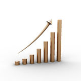 Graph up, 3d render. On white background Royalty Free Stock Photos