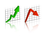 Graph with up and down evolution. 3D Graph with up and down evolution Stock Photography