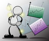 Graph up. The man and graph is increasing Royalty Free Stock Image