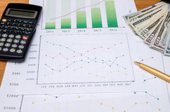 Graph with usa dollar, calculator,  pen Stock Images
