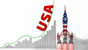 The graph of USA success. Graph of rapid growth with red word USA and rocket in the colors of the United States of America flag launch. Footage video stock footage