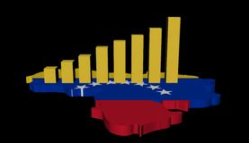 Graph on Venezuela map flag Stock Photos