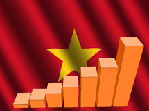 Graph on Vietnamese flag Stock Images