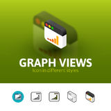 Graph views icon in different style. Graph views color icon, vector symbol in flat, outline and isometric style  on blur background Royalty Free Stock Images
