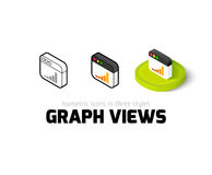 Graph views icon in different style. Graph views icon, vector symbol in flat, outline and isometric style Stock Image