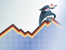 Graph walker. A broker climbing by an economic graph, looking for a better way stock illustration