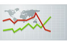 Graph on world map Royalty Free Stock Image