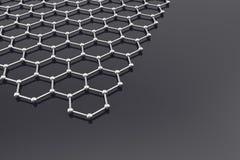 Graphen-Oberfläche, Nanotechnologiehintergrund Abbildung 3D Lizenzfreies Stockbild