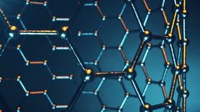 Graphene原子nanostructure loopable动画 Nanotube以蜂窝的形式 概念纳米技术和科学 4K 库存例证