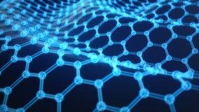 Αφηρημένη κινηματογράφηση σε πρώτο πλάνο μορφής νανοτεχνολογίας εξαγωνική γεωμετρική, ατομική δομή έννοιας graphene, έννοια graph απεικόνιση αποθεμάτων