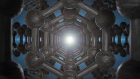 Graphene Atom Nanostructure Loopable Animation nella forma di animazione di nanotecnologia e di scienze 4K 3d di concetto del fav royalty illustrazione gratis