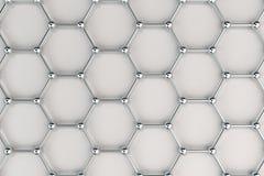 Graphene atom- struktur på vit bakgrund Arkivfoto