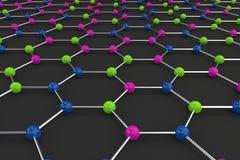 Graphene atomic structure on black background Stock Photos