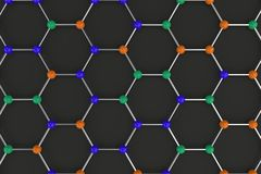 Graphene atomic structure on black background vector illustration