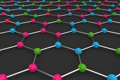 Graphene atomic structure on black background Royalty Free Stock Images