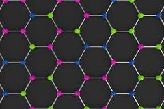 Graphene atomic structure on black background Royalty Free Stock Photo