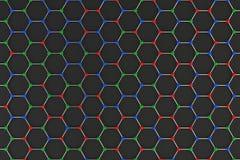 Graphene atomic structure on black background Stock Image