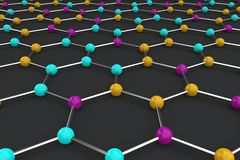 Graphene atomic structure on black background royalty free illustration