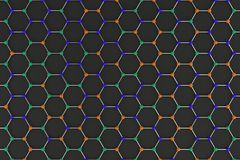 Graphene atomic structure on black background stock illustration