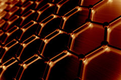 Graphene atomic structure, nanotechnology background. 3d illustration Royalty Free Stock Images