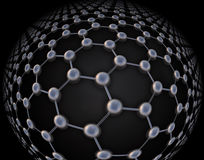 Graphene atomic structure. Nanotechnology background illustration Royalty Free Stock Photos