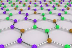 Graphene atomic structure on white background Royalty Free Stock Images