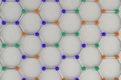 Graphene atomic structure on white background. Hexagonal colored molecular grid. Concept of carbon structure. Crystal lattice. 3D rendering illustration Royalty Free Stock Photos