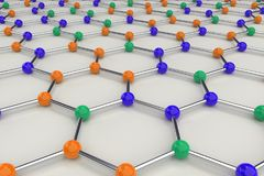 Graphene atomic structure on white background. Hexagonal colored molecular grid. Concept of carbon structure. Crystal lattice. 3D rendering illustration Royalty Free Stock Photo