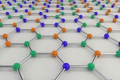 Graphene atomic structure on white background. Hexagonal colored molecular grid. Concept of carbon structure. Crystal lattice. 3D rendering illustration Stock Image