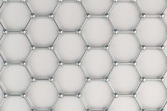 Graphene atomic structure on white background. Hexagonal molecular grid. Concept of carbon structure. Crystal lattice. 3D rendering illustration Stock Photo