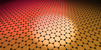 Graphene. Atoms orange yellow science Vector Illustration
