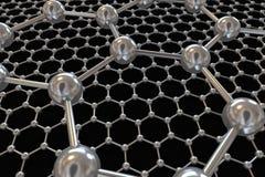 Graphene avec des atomes de carbone électroniques et la communication Photo stock