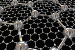 Graphene con gli atomi di carbonio elettronici e la comunicazione illustrazione di stock