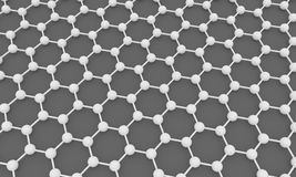 Graphene. 3D illustration of graphene molecular stucture Stock Photos