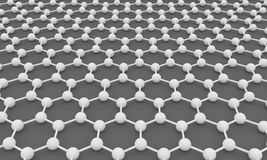 Graphene. 3D illustration of graphene molecular stucture Royalty Free Stock Photography