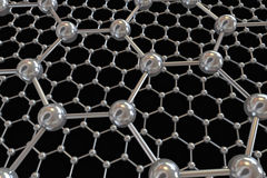 Graphene electronic carbon atoms illustration. 3D illustration of Graphene atomic structure - nanotechnology background illustration Stock Photo