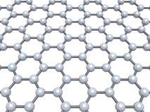 Graphene layer molecular model, 3d render. Graphene layer molecular model, hexagonal molecular lattice isolated on white background, 3d illustration Royalty Free Illustration