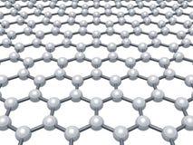 Graphene layer, molecular model on white. Graphene layer, schematic molecular model of hexagonal lattice isolated on white background, 3d render illustration Royalty Free Stock Photo
