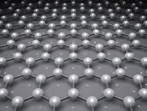 Graphene layer, schematic cg molecular model. Graphene layer, schematic molecular model of hexagonal lattice. 3d illustration Stock Photo