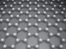 3d graphene structure molecular model. Graphene layer structure molecular model, hexagonal lattice of carbon atoms. 3d illustration Royalty Free Stock Photos