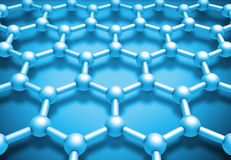 Graphene layered molecule structure, blue schematic model Royalty Free Stock Photo