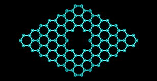 Graphene molecular structure with a pore isolated on black Stock Photo