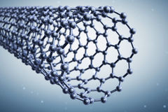 Graphene molecular structure. Graphene tube molecular crystal structure Stock Photo