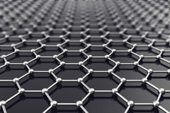 Graphene nanostructure sheet at atomic scale. 3d illustration. Graphene nanostructure sheet at atomic scale 3d illustration Royalty Free Stock Photos