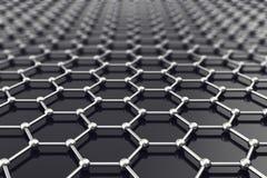 Graphene nanostructureark på den atom- skalan illustration 3d Royaltyfria Foton