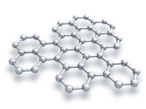 Graphene structure fragment. Schematic model. 3d render illustration  on white Royalty Free Stock Photos
