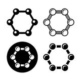 Graphene Structure Icons Set. Vector Stock Photos